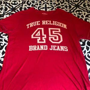 Men's red True Religion shirt